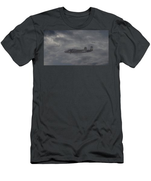 Men's T-Shirt (Slim Fit) featuring the digital art B25 - 12th Usaaf by Pat Speirs