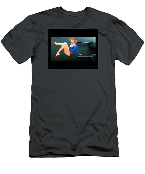 Babe On Wwii Bomber The Show Me Men's T-Shirt (Slim Fit) by Kathy Barney