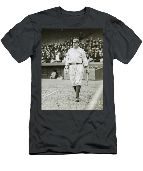 Babe Ruth Going To Bat Men's T-Shirt (Slim Fit) by Jon Neidert