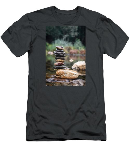 Balancing Zen Stones In Countryside River I Men's T-Shirt (Slim Fit) by Marco Oliveira