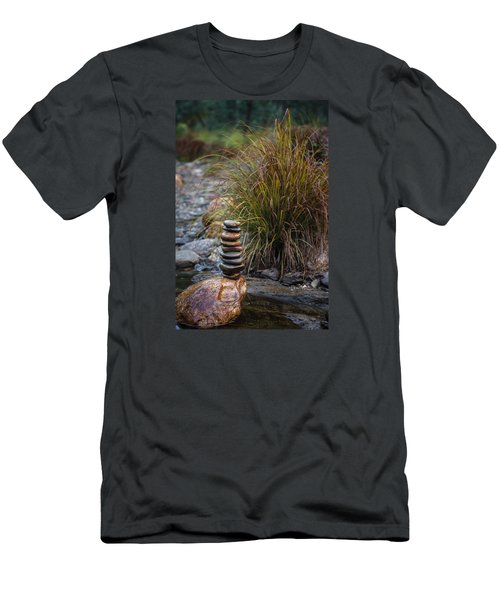 Balancing Zen Stones In Countryside River V Men's T-Shirt (Athletic Fit)