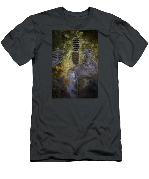 Balancing Zen Stones In Countryside River X Men's T-Shirt (Athletic Fit)