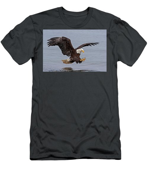 Bald Eagle Diving For Fish In Falling Snow Men's T-Shirt (Athletic Fit)