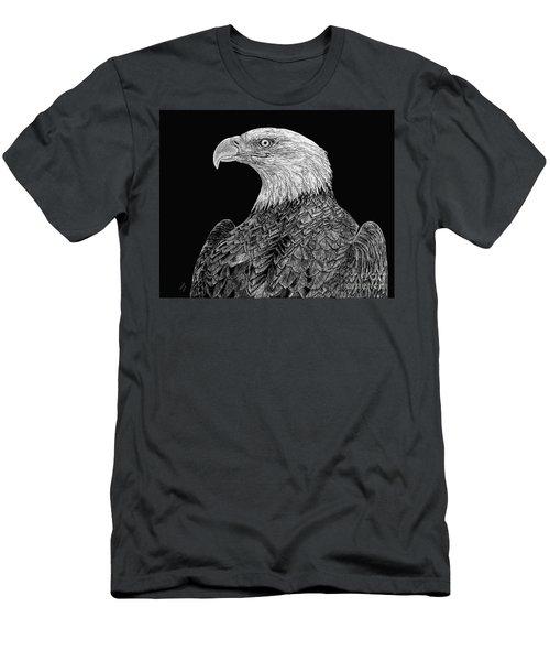 Bald Eagle Scratchboard Men's T-Shirt (Slim Fit) by Shevin Childers