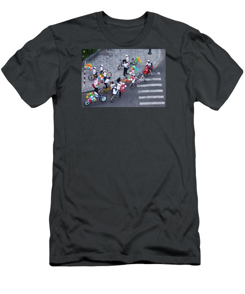 Balloons And Bikes Men's T-Shirt (Slim Fit) by Cameron Wood