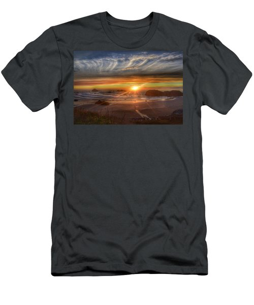 Men's T-Shirt (Slim Fit) featuring the photograph Bandon Sunset by Bonnie Bruno