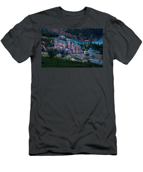 Men's T-Shirt (Slim Fit) featuring the photograph Banff Springs Hotel by John Poon