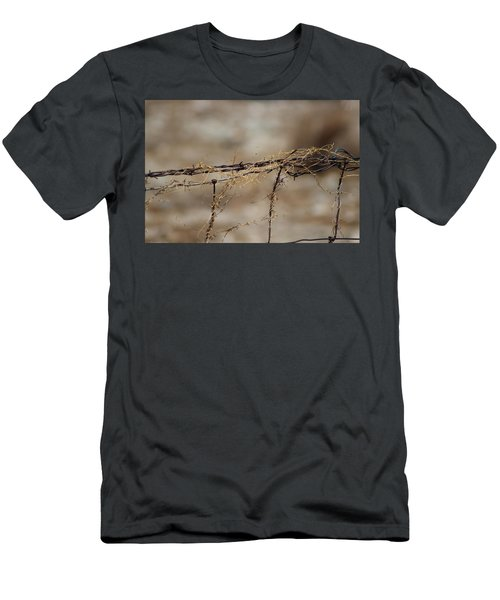 Barbed Wire Entwined With Dried Vine In Autumn Men's T-Shirt (Athletic Fit)