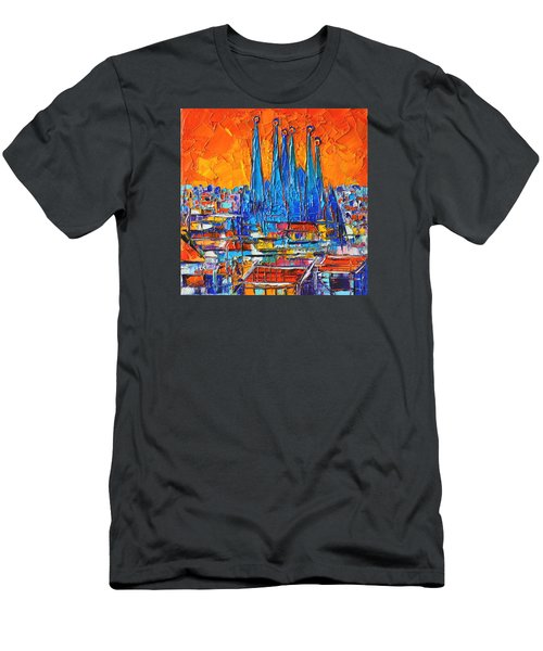 Barcelona Abstract Cityscape 7 - Sagrada Familia Men's T-Shirt (Slim Fit) by Ana Maria Edulescu
