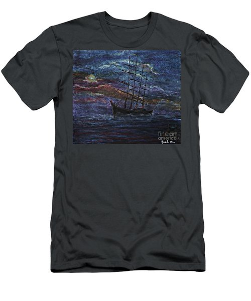 Men's T-Shirt (Slim Fit) featuring the pastel Barco Negro- Tribute To Amalia Rodrigues by AmaS Art