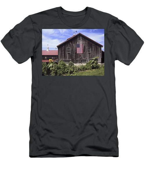 Barn And American Flag Men's T-Shirt (Slim Fit) by Sally Weigand