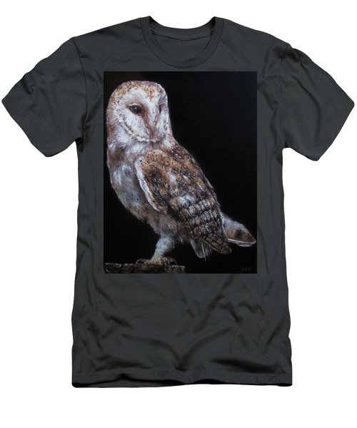 Men's T-Shirt (Slim Fit) featuring the painting Barn Owl by Cherise Foster