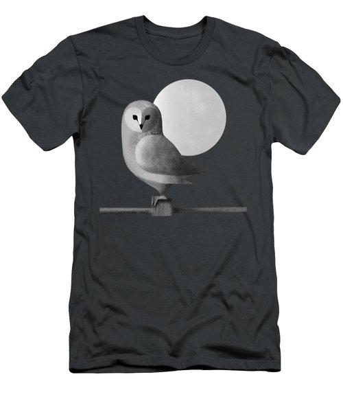 Barn Owl Full Moon Men's T-Shirt (Athletic Fit)