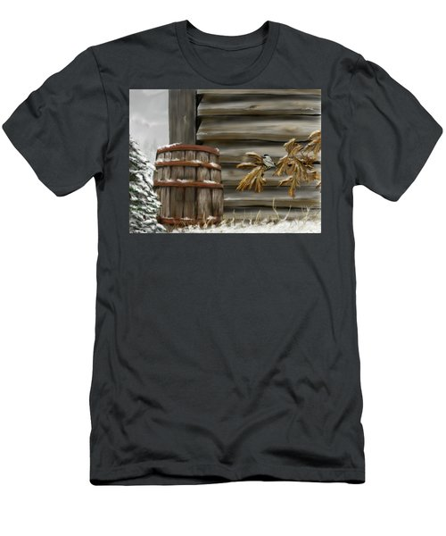 Men's T-Shirt (Athletic Fit) featuring the digital art Barnyard Barrel And Chickadee by Darren Cannell