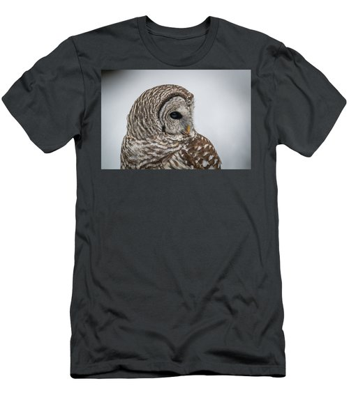 Men's T-Shirt (Slim Fit) featuring the photograph Barred Owl Portrait by Paul Freidlund