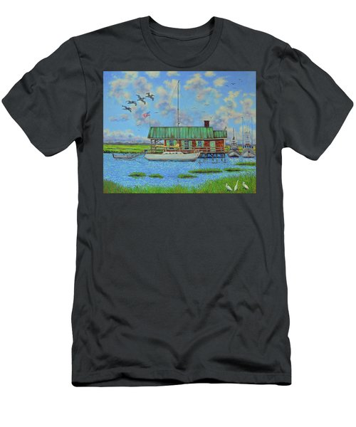 Barriar Island Boathouse Men's T-Shirt (Slim Fit) by Dwain Ray