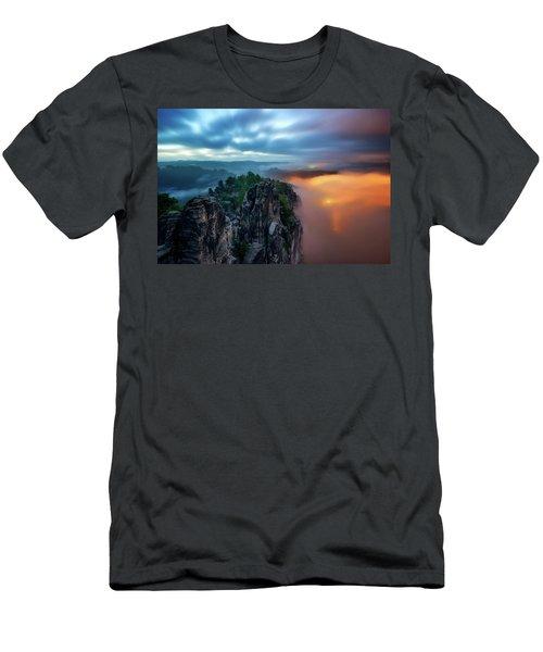 Bastei Bridge Night View, Saxon Switzerland, Germany Men's T-Shirt (Athletic Fit)