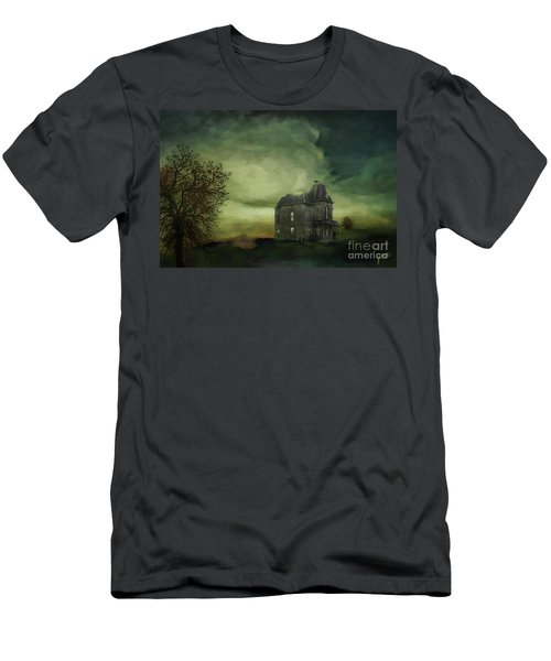 Men's T-Shirt (Slim Fit) featuring the mixed media Bates Residence by Jim  Hatch