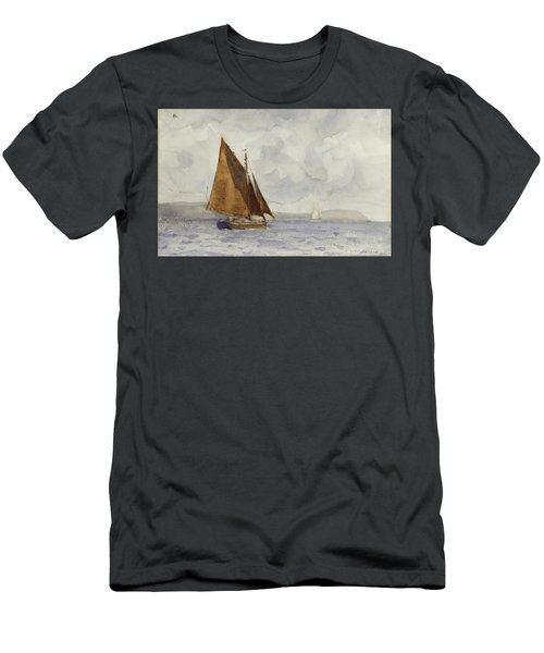 Men's T-Shirt (Slim Fit) featuring the painting Bawley Running Up The Coast by Henry Scott Tuke