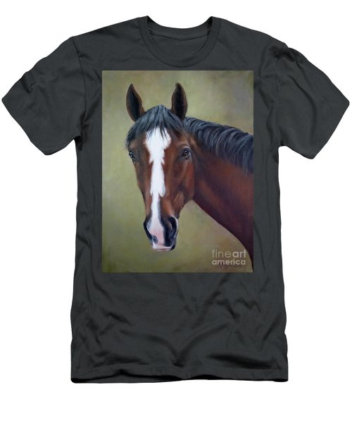 Bay Thoroughbred Horse Portrait Ottb Men's T-Shirt (Athletic Fit)