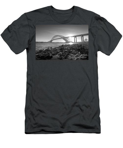 Bayonne Bridge Black And White Men's T-Shirt (Athletic Fit)