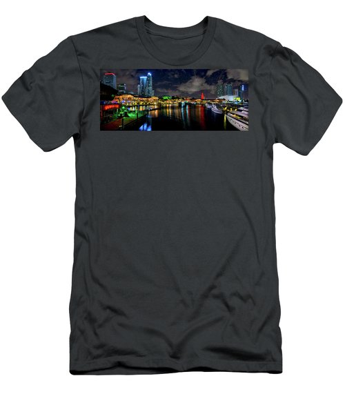 Bayside Miami Florida At Night Under The Stars Men's T-Shirt (Slim Fit) by Justin Kelefas