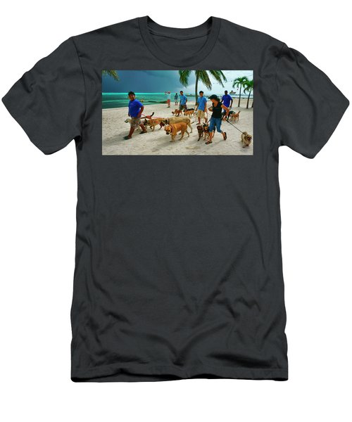 Beach Dog Walkers On Ambergris Caye, Belize Men's T-Shirt (Athletic Fit)