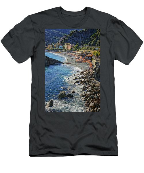Beach Monterosso Italy Dsc02467 Men's T-Shirt (Slim Fit) by Greg Kluempers