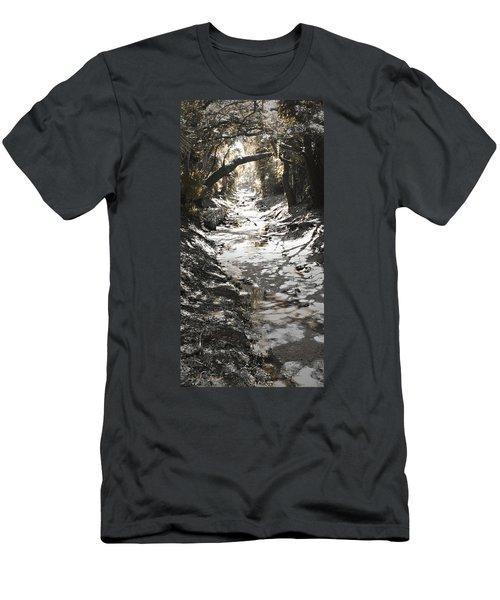 Men's T-Shirt (Slim Fit) featuring the photograph  Beach Park Storm Drain by Steve Sperry