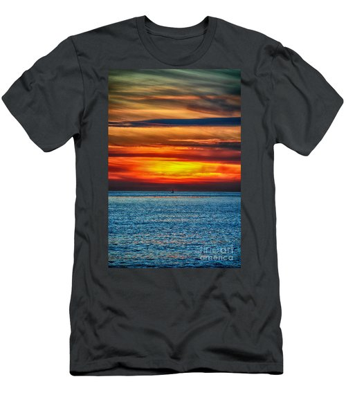 Men's T-Shirt (Slim Fit) featuring the photograph Beach Sunset And Boat by Mariola Bitner