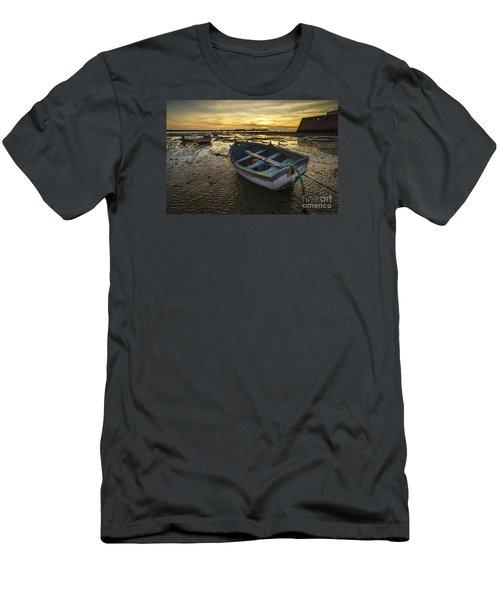 Beached Boat On La Caleta Cadiz Spain Men's T-Shirt (Slim Fit) by Pablo Avanzini