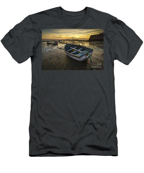 Beached Boat On La Caleta Cadiz Spain Men's T-Shirt (Athletic Fit)