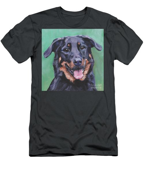 Men's T-Shirt (Slim Fit) featuring the painting Beauceron Portrait by Lee Ann Shepard