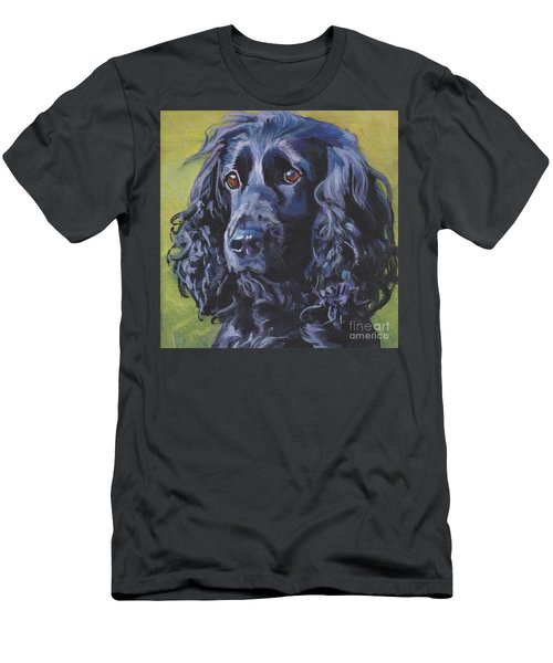 Men's T-Shirt (Slim Fit) featuring the painting Beautiful Black English Cocker Spaniel by Lee Ann Shepard