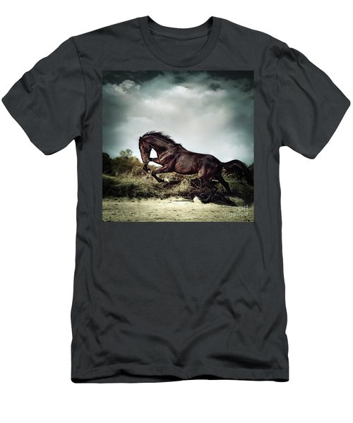 Beautiful Black Stallion Horse Running On The Stormy Sky Men's T-Shirt (Athletic Fit)