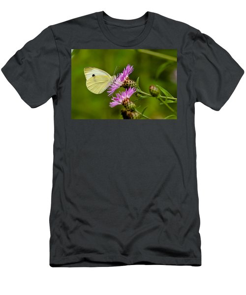 Beautiful Butterfly On Pink Thistle Men's T-Shirt (Athletic Fit)