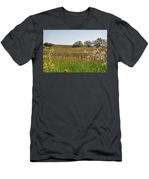 Beautiful California Vineyard Framed With Flowers Men's T-Shirt (Athletic Fit)