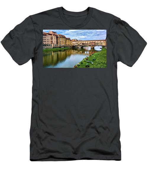 Ponte Vecchio On A Spring Day In Florence, Italy Men's T-Shirt (Athletic Fit)
