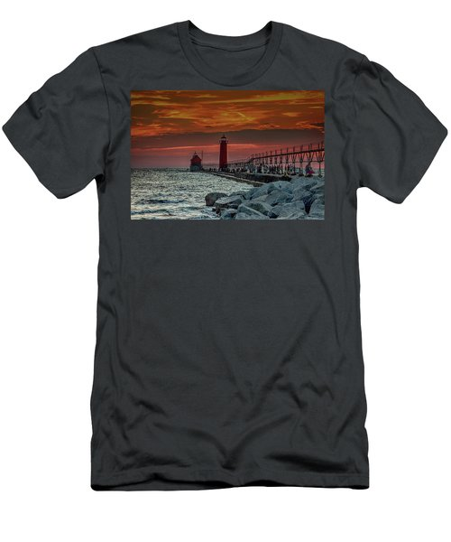 Sunset At Grand Haven Pier Men's T-Shirt (Athletic Fit)