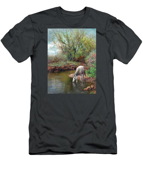 Men's T-Shirt (Slim Fit) featuring the painting Beautiful White Horse And Enchanting Spring by Svitozar Nenyuk