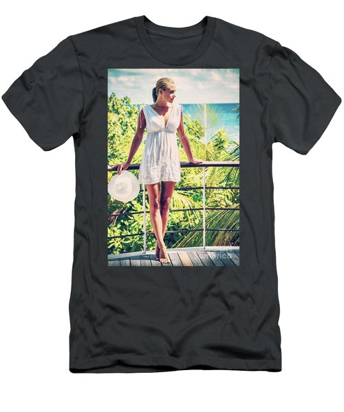 Beautiful Woman In The Beach House Men's T-Shirt (Athletic Fit)