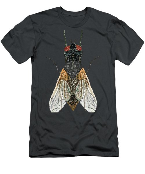 Men's T-Shirt (Slim Fit) featuring the digital art Bedazzled Housefly Transparent Background by R  Allen Swezey