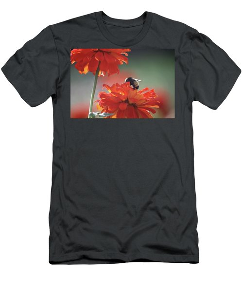 Men's T-Shirt (Slim Fit) featuring the photograph Bee And Flower I by Donna G Smith