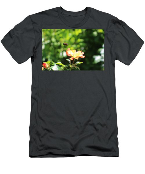 Bee Flying From Peach Petal Rose Men's T-Shirt (Athletic Fit)