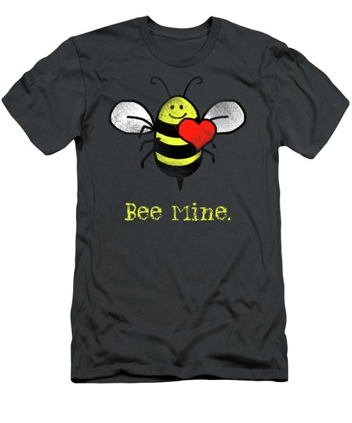 Bee Mine Cute Bee With Heart For Valentines Day Men's T-Shirt (Athletic Fit)