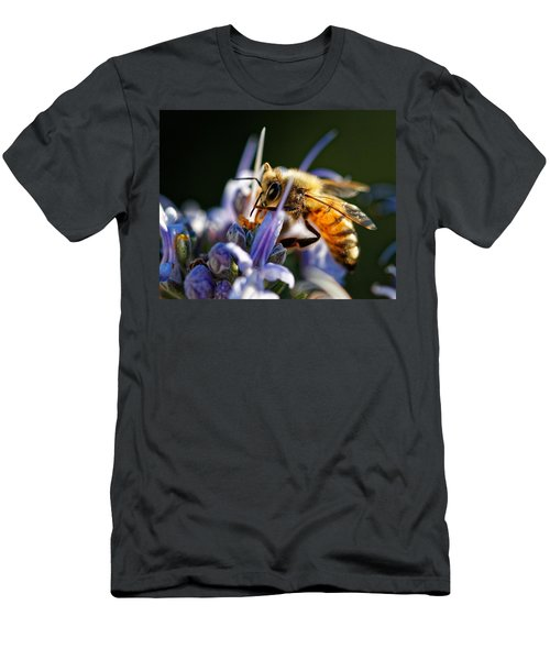 Bee Visits Rosemary  Men's T-Shirt (Athletic Fit)