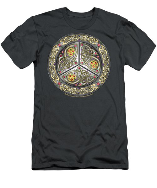 Men's T-Shirt (Slim Fit) featuring the mixed media Bejeweled Celtic Shield by Kristen Fox