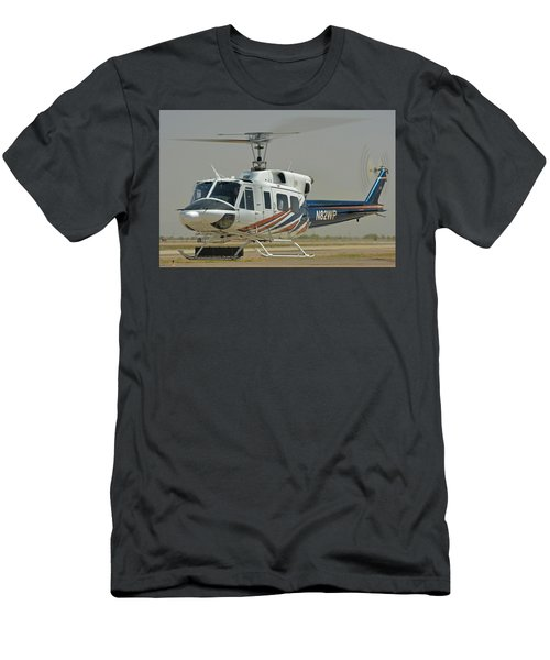 Men's T-Shirt (Slim Fit) featuring the photograph Bell 212 N82wp Phoenix-mesa Gateway Airport Arizona April 15 2016 by Brian Lockett
