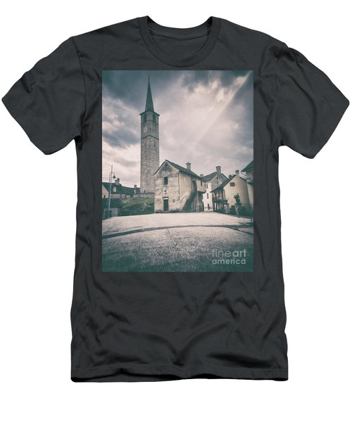 Men's T-Shirt (Athletic Fit) featuring the photograph Bell Tower In Italian Village by Silvia Ganora