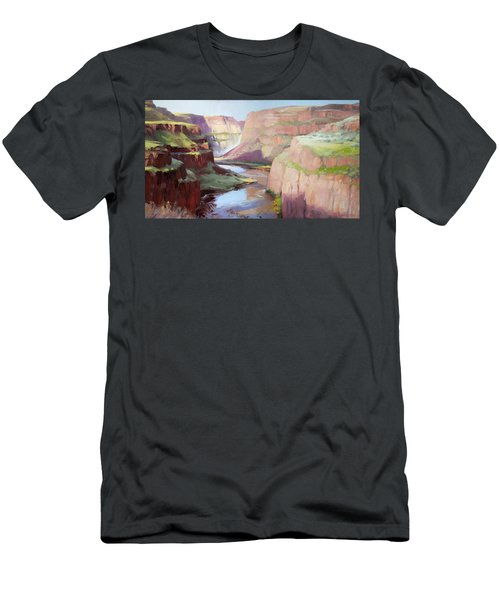 Men's T-Shirt (Athletic Fit) featuring the painting Below Palouse Falls by Steve Henderson